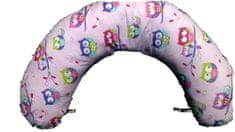KHC Kojící těhotenský relaxační polštář Miki Obrovský 240 cm Sovičky na růžové Pratelný potah Duté vlákno