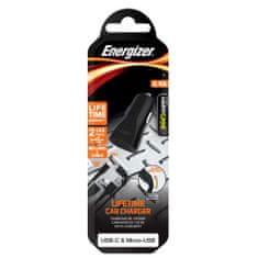 Energizer punjač za automobilsku utičnicu s USB-C i Micro-USB kabelom