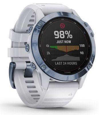 Chytré hodinky Garmin fenix 6 Pro Solar, optické sledování tepu, srdeční činnost, variabilita pulzu, okysličení krve, aerobní vytrvalost, VO2 Max, běžecké cyklistické metriky