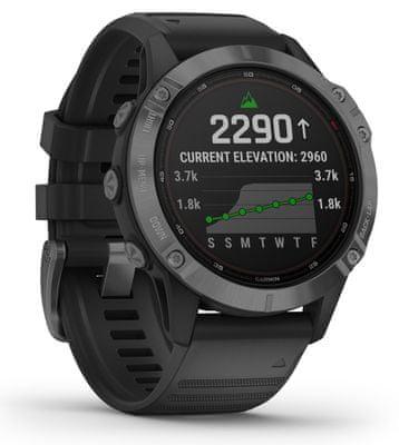 Chytré hodinky Garmin fenix 6 Pro Solar, optické sledovanie tepu, srdcovú činnosť, variabilita pulzu, okysličenie krvi, aeróbna vytrvalosť, VO2 Max, bežecké cyklistické metriky