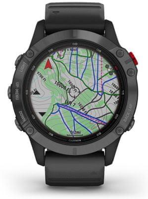 Chytré hodinky Garmin fenix 6S PRO, zobrazenie mapy na displeji, GPS, Glonass, GALILEO
