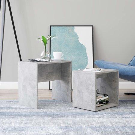 shumee Komplet klubskih mizic betonsko siv 48x30x45 cm iverna plošča