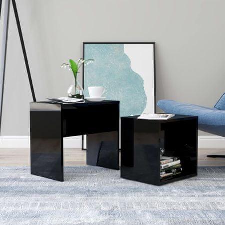 shumee magasfényű fekete forgácslap dohányzóasztal szett 48x30x45 cm