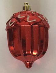 DUE ESSE zestaw 10 świątecznych żołędzi czerwonych, 8 cm, biały brokat