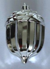 DUE ESSE komplet božičnih želodov, srebrni z belimi bleščicami, 8 cm, 10 kosov