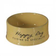 Duvo+ Keramická miska pro psy HAPPY DOG - zlutá 18,5cm 1000ml