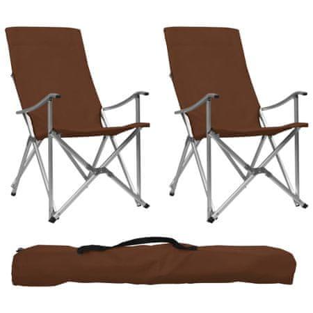 shumee Zložljiv stol za kampiranje 2 kosa rjave barve