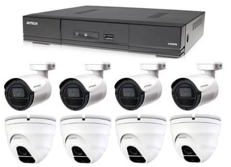 Avtech Kamera készlet 1x DVR DGD1009AV, 4x 5MPX Dome kamera DGC5205TSE és 4x 5MPX Bullet kamera DGC5105T + 4x tápegység AJÁNDÉKBA!