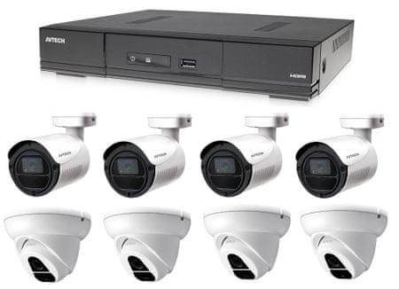 Avtech Kamera készlet 1x DVR DGD1009AV, 4x 2MPX Dome kamera DGC1004XFT és 4x 2MPX Bullet kamera DGC1105YFT + 4x tápegység AJÁNDÉKBA!