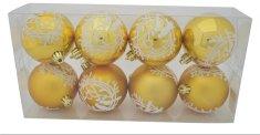 DUE ESSE komplet 8 złotych bombek bożonarodzeniowych matowych / błyszczących Ø 8 cm, dekor nr 2