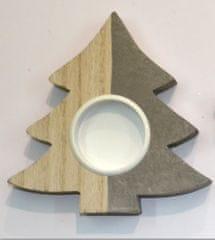 DUE ESSE świecznik świąteczny, drewniany, na świeczkę herbacianą, drzewko 10 cm
