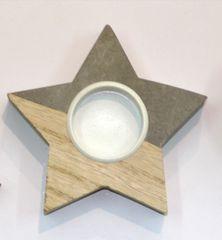 DUE ESSE Zvezda božični svečnik, lesen, 10 cm