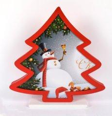 DUE ESSE Vianočný drevený svietiaci stromček s motívom snehuliaka, 26 cm