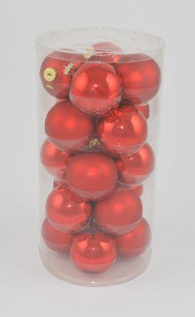 DUE ESSE Komplet božičnih steklenih okraskov, rdeči, Ø 8 cm, 20 kosov, sijaj/mat