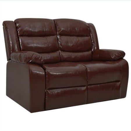 shumee kétszemélyes barna műbőr dönthető kanapé