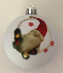 DUE ESSE set od 6 božićnih kuglica s patuljkom, bijele, Ø 8 cm