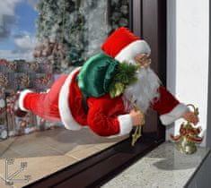 DUE ESSE Vánoční dekorace Santa v okně 70 cm