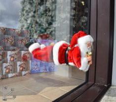 DUE ESSE Vánoční dekorace Santa v okně 35 cm