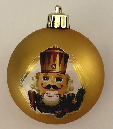 DUE ESSE set od 8 božićnih kuglica s Orašarom, zlatne, Ø 7 cm