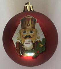 DUE ESSE 8 db piros karácsonyi gömb készlet Diótörővel, Ø 7 cm