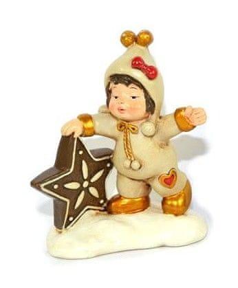 DUE ESSE Zestaw świątecznych dekoracji 2 szt., Dzieci z piernikami, złoty