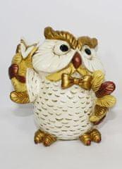 DUE ESSE Kasička vánoční sova s vlaštovkou, 11 cm