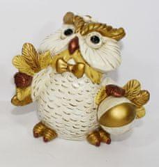 DUE ESSE Kasička vánoční sova s míčem, 11 cm
