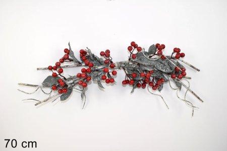 DUE ESSE božična vejica s cvetnimi listi in jagodami, 70 cm