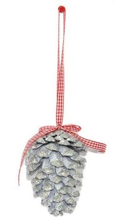 DUE ESSE komplet božičnih storžev, srebrni, 11 cm, 10 kosov