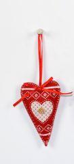 DUE ESSE božični okrasek iz blaga, rdeč, višina 10 cm