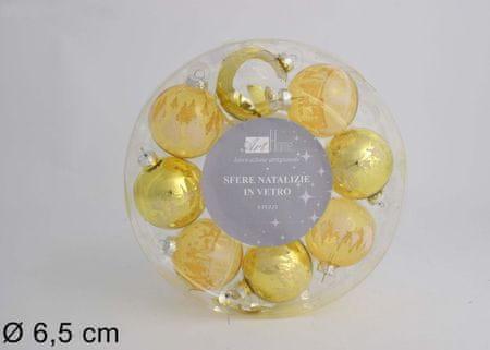 DUE ESSE Set 8 zlatih božičnih steklenih kroglic, Ø 6,5 cm