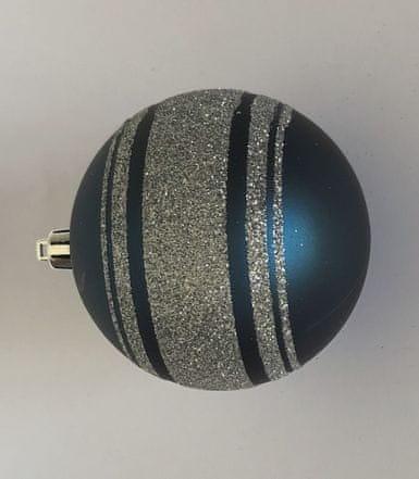 DUE ESSE Set 6 kosov modrih božičnih kroglic, Ø 10 cm