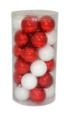 DUE ESSE set božićnih kuglica, bijela/crvena, 6 cm, 30 komada