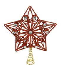 DUE ESSE Bożonarodzeniowy czubek - gwiazda, czerwona z białymi kamyczkami, 27 cm