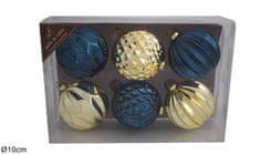 DUE ESSE 6 darabos üvegből készült karácsonyi gömb készlet, Ø 10 cm, kék/arany