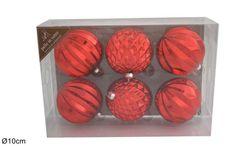 DUE ESSE komplet božičnih steklenih okraskov, rdeči, Ø 10 cm, 6 kosov