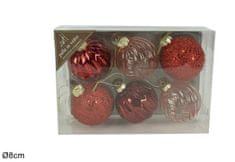 DUE ESSE 6 darabos üvegből készült, piros karácsonyi gömb készlet, Ø 8 cm