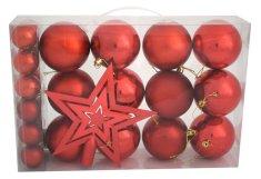 DUE ESSE 25 db-os piros karácsonyfadísz szett csúcsdísszel
