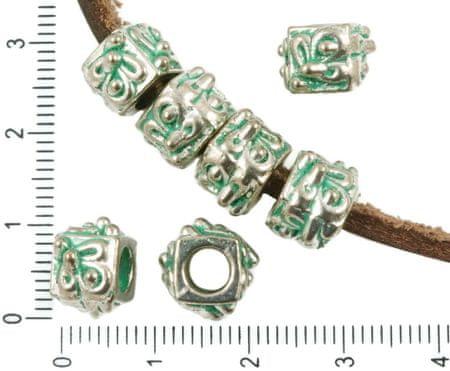 Kraftika 6db antik ezüst tónusú türkiz zöld patina mosás nagy lyuk