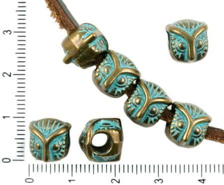 Kraftika 6db antik bronz hang türkiz kék patina mosás nagy lyuk