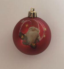 DUE ESSE 8 db-os karácsonyi piros gömb szett Ø 7cm karácsonyi manóval