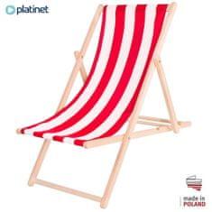 Platinet PSW drvena ležaljka, prugasta, crveno-bijela