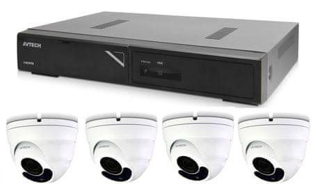 Avtech Kamera készlet 1x NVR AVH1104 és 4x 2MPX Motorzoom IP Dome kamera DGM2443SVSE+4x Kábel UTP 1x RJ45 - 1x RJ45 Cat5e 15m