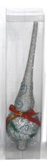 DUE ESSE Karácsonyi csúcsdísz, ezüst kúp, 24 cm