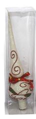 DUE ESSE Karácsonyfa fehér csúcsdísz, 24 cm