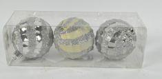 DUE ESSE komplet božičnih bunkic, srebrne, Ø 8 cm, 3 kosi