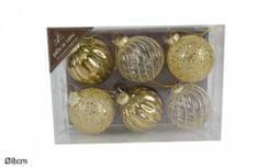 DUE ESSE 6 db-os Karácsonyfa üveggömb szett, arany színű, Ø 8 cm