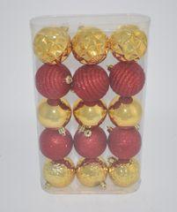 DUE ESSE 15 db-os karácsonyi gömb szett Ø 7cm, piros/arany