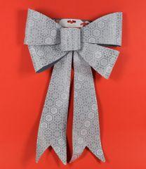 DUE ESSE dekoracja świąteczna, srebrna kokarda 60 cm