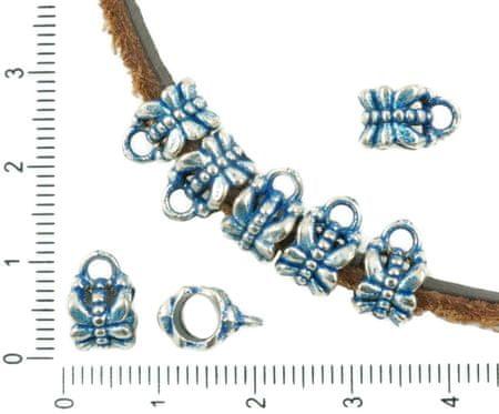 Kraftika 20db antik ezüst tónusú kék patina mosás nagy lyuk európai
